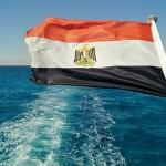 Ägypten Flagge auf dem Meer im Urlaub