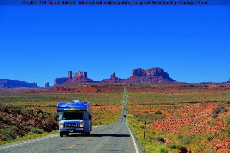 Urlaub mit dem Wohnmobil im Sommer - Das Monument Valley gehört zu jeder Westküsten-Camper-Tour