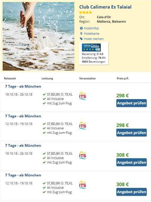 www.reisen-preiswert.de Spanien Mallorca: 1 Woche AI Club Calimera Es Talaial ab 298 €