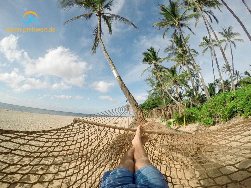 Urlaub unter Palmen und in der Hängematte entspannen