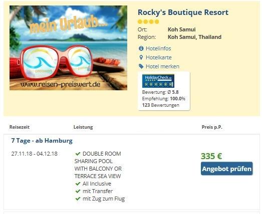 Urlaub 4* Rocky's Boutique Resort - Angebot Thailand Koh Samui www.reisen-preiswert.de